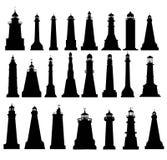 Ensemble de silhouette de phare Images libres de droits