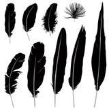 Ensemble de silhouette de plume Rétro collection d'icône de stylo Illustrarion de vecteur Images stock