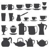 Ensemble de silhouette de tasses et de pots Photos stock