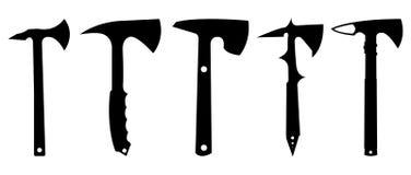 Ensemble de silhouette de Tomahawk Photos libres de droits