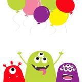 Ensemble de silhouette de trois monstres Visage principal Ballons de vol Caractère effrayant de bande dessinée mignonne Collectio illustration de vecteur