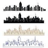 Ensemble de silhouette de villes de vecteur illustration stock