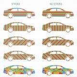 Ensemble de silhouettes de voiture de couleur Photographie stock libre de droits