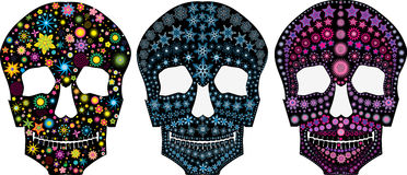 Ensemble de silhouettes décoratives d'un crâne Photographie stock