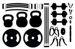 Ensemble de silhouettes d'accessoires de gymnase Image stock