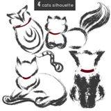 Ensemble de silhouettes de chats dans différentes poses Illustration Stock
