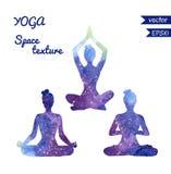Ensemble de silhouettes de yoga de l'espace Images stock