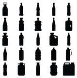 Ensemble de silhouettes des bouteilles en plastique et d'autres récipients Image libre de droits