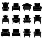 Ensemble de silhouettes des fauteuils Vecteur Image stock