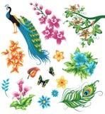 Ensemble de silhouettes des plantes tropicales illustration stock