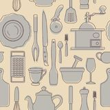 Ensemble de silhouettes des ustensiles de cuisine Type de cru Illustration de vecteur illustration stock