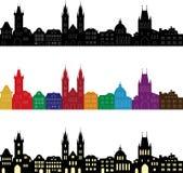 Ensemble de silhouettes européennes de ville Horizons sans couture dans différentes couleurs illustration stock