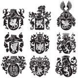 Ensemble de silhouettes héraldiques No2 illustration stock