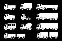 Ensemble de silhouettes les camions de cargaison Photographie stock libre de droits