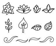 Ensemble de silhouettes noires et blanches des fleurs Image libre de droits