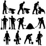 Ensemble de silhouettes de travailleur avec la brouette, la pelle et le seau images stock