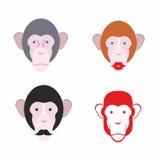 Ensemble de singe facial Singe avec une moustache divers des animaux Photographie stock
