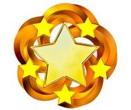 Ensemble de six étoiles brillantes d'or dans le mouvement Image libre de droits