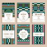 Ensemble de six cartes de mariage avec Art Deco Ornaments Photos libres de droits
