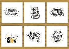 Ensemble de six cartes de voeux de vacances avec le lettrage manuscrit unique Collection de cartes de Noël Illustration de vecteu Photos libres de droits