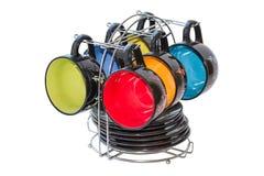 Ensemble de six cuvettes colorées Image libre de droits