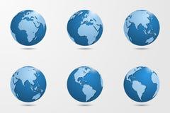 Ensemble de six hauts globes détaillés de vecteur Photographie stock