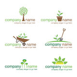 Ensemble de six logos de jardinage Photo stock