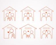 Ensemble de six maisons et de différentes familles illustration stock