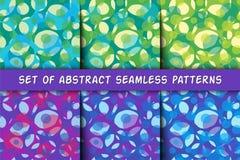 Ensemble de six modèles sans couture géométriques abstraits avec des cercles Illustration colorée Photo libre de droits