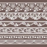Ensemble de six modèles sans couture horizontaux de rubans de dentelle Illustrations de couture de vecteur illustration stock