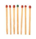 Ensemble de six rouge et de matchs un en bois verts Photographie stock