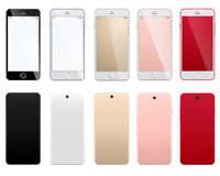 Ensemble de smartphones modernes sur un fond blanc avec les arrières avant et Images libres de droits