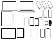 Ensemble de smartwatch de comprimé de smartphone d'ordinateur portable pro de dispositifs avec le calibre d'écran vide illustration stock