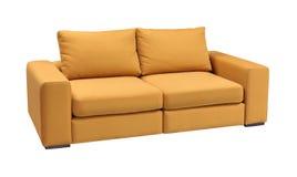 Ensemble de sofa de tapisserie d'ameublement avec des oreillers d'isolement sur le fond blanc avec le chemin de coupure Photos libres de droits
