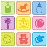 Ensemble de soin de bébé. Illustration de vecteur des icônes de bébé. Image stock