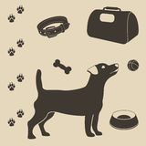 Ensemble de soin de chien d'icônes Image stock