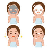 Ensemble de soins de la peau au visage de la femme illustration de vecteur