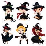 Ensemble de 6 sorcières avec du charme illustration stock