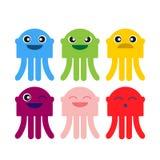 Ensemble de sourire d'icône de méduses mignonnes de couleur Photo stock
