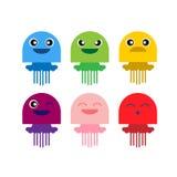 Ensemble de sourire d'icône de méduses mignonnes de couleur Photo libre de droits