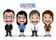 Ensemble de sourire heureux professionnel réaliste de caractères de l'homme 3D et de la femme Images stock