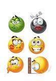 Ensemble de sourires ronds d'émotion en lots illustration stock