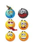 Ensemble de sourires ronds d'émotion en lots illustration de vecteur