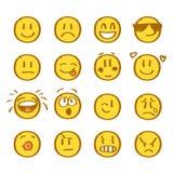 Ensemble de sourires tirés par la main sur le fond blanc illustration libre de droits