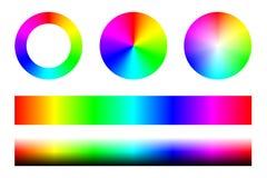 Ensemble de spectres de couleur RVB, de cercles de roue et de rayures Vecteur Image stock