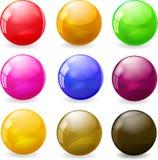 Ensemble de sphères brillantes colorées Images libres de droits