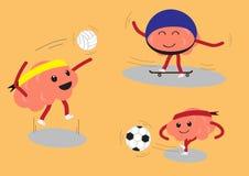 Ensemble de sport de bande dessinée de cerveau illustration libre de droits