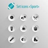 Ensemble de sport d'icône de noir mat de vecteur Photos libres de droits