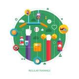 Ensemble de sport, de forme physique et de sain plats de conception Image libre de droits
