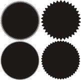 Ensemble de starburst de vecteur, insignes de rayon de soleil Noir sur la couleur blanche Style plat simple Image stock